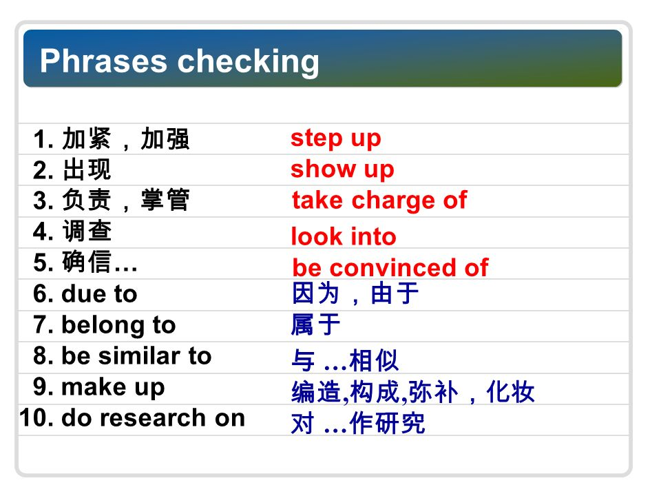 Phrases checking 1. 2. 3. 4. 5. … 6. due to 7.