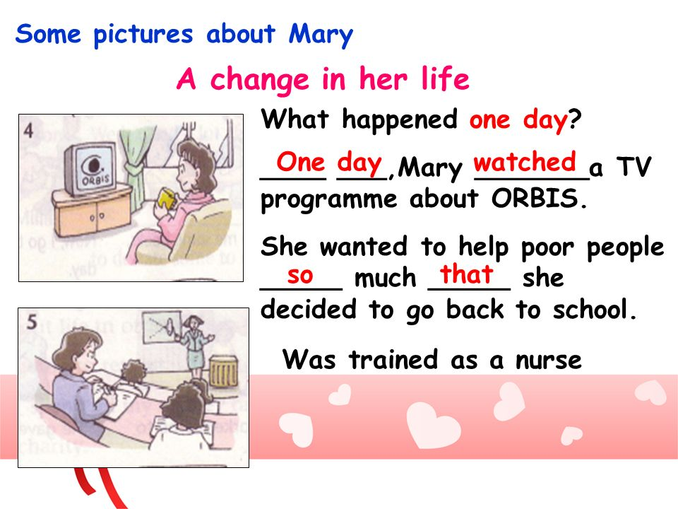 Some pictures about Mary A change in her life What happened one day? ____ ___,Mary _______a TV programme about ORBIS. She wanted to help poor people _
