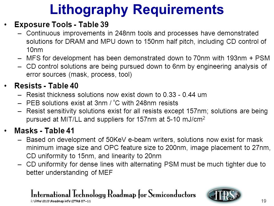 i:\litho\013\Roadmap info\ITRS 07-11 19 Lithography Requirements Exposure Tools - Table 39 –Continuous improvements in 248nm tools and processes have