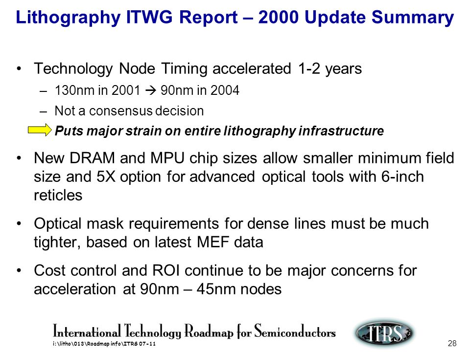 i:\litho\013\Roadmap info\ITRS 07-11 28 Lithography ITWG Report – 2000 Update Summary Technology Node Timing accelerated 1-2 years –130nm in 2001 90nm