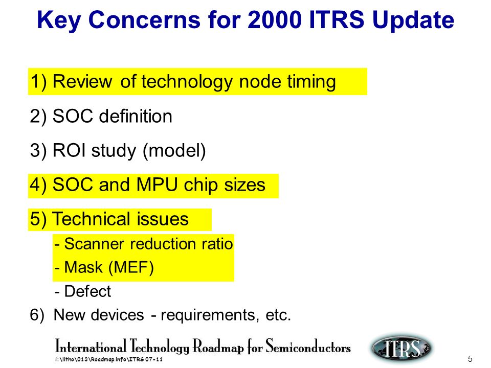 i:\litho\013\Roadmap info\ITRS 07-11 5 Key Concerns for 2000 ITRS Update 1) Review of technology node timing 2) SOC definition 3) ROI study (model) 4)