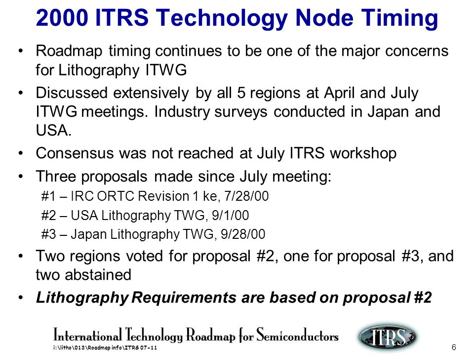 i:\litho\013\Roadmap info\ITRS 07-11 6 2000 ITRS Technology Node Timing Roadmap timing continues to be one of the major concerns for Lithography ITWG