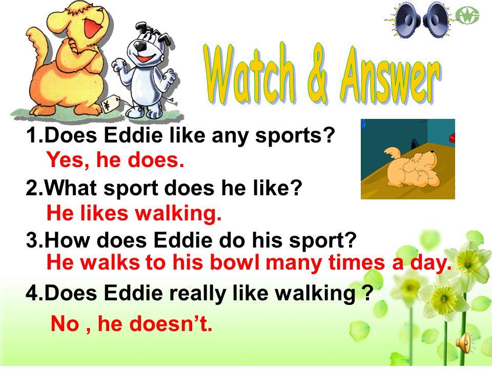 1.Does Eddie like any sports? 2.What sport does he like? 3.How does Eddie do his sport? 4.Does Eddie really like walking ? Yes, he does. He likes walk