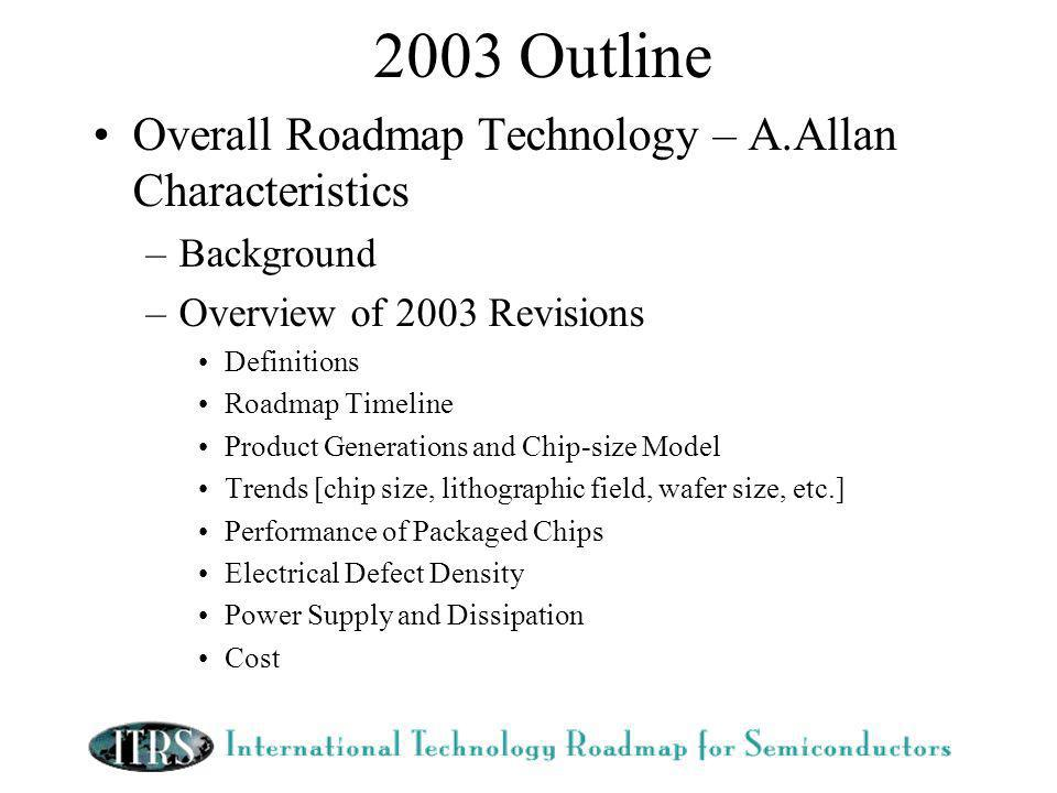2003 Outline Overall Roadmap Technology – A.Allan Characteristics –Background –Overview of 2003 Revisions Definitions Roadmap Timeline Product Generations and Chip-size Model Trends [chip size, lithographic field, wafer size, etc.] Performance of Packaged Chips Electrical Defect Density Power Supply and Dissipation Cost