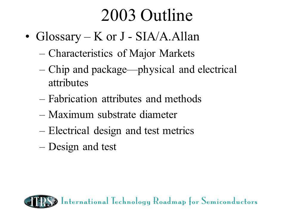 2003 Outline Glossary – K or J - SIA/A.Allan –Characteristics of Major Markets –Chip and packagephysical and electrical attributes –Fabrication attributes and methods –Maximum substrate diameter –Electrical design and test metrics –Design and test