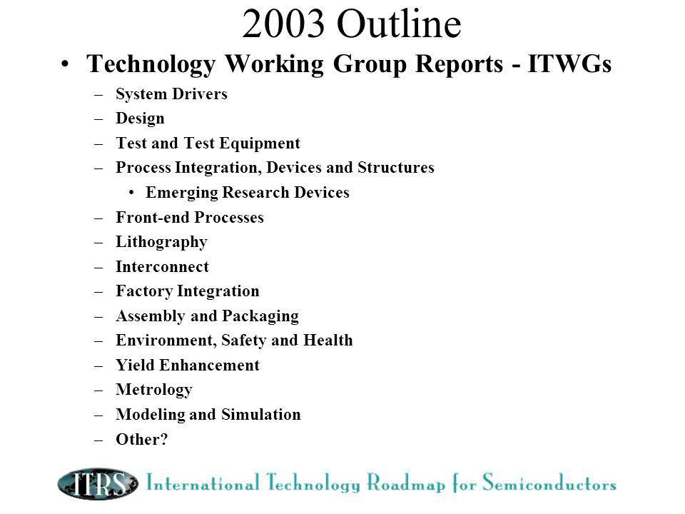2003 Outline Technology Working Group Reports - ITWGs –System Drivers –Design –Test and Test Equipment –Process Integration, Devices and Structures Emerging Research Devices –Front-end Processes –Lithography –Interconnect –Factory Integration –Assembly and Packaging –Environment, Safety and Health –Yield Enhancement –Metrology –Modeling and Simulation –Other