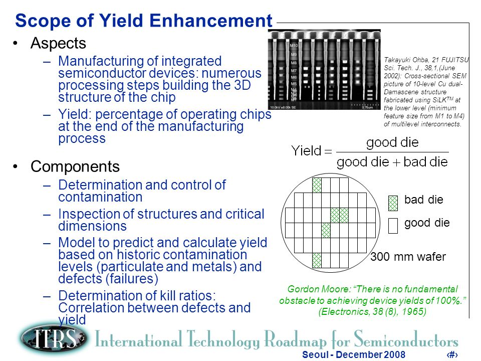 4 Seoul - December 20084 Objectives of Yield Enhancement collect defect data –tools for inspection and root cause analysis –automated defect classification and filtering –inspection strategy yield management –software –objective: to correlate data and find excursions –predict yield data excursions –define specs –procedure for clarification process module 1 process module 2 process module k wafer 1 2 k manufacturing inspection and collection of data review, characterization, metrology defect densities defect classiffication