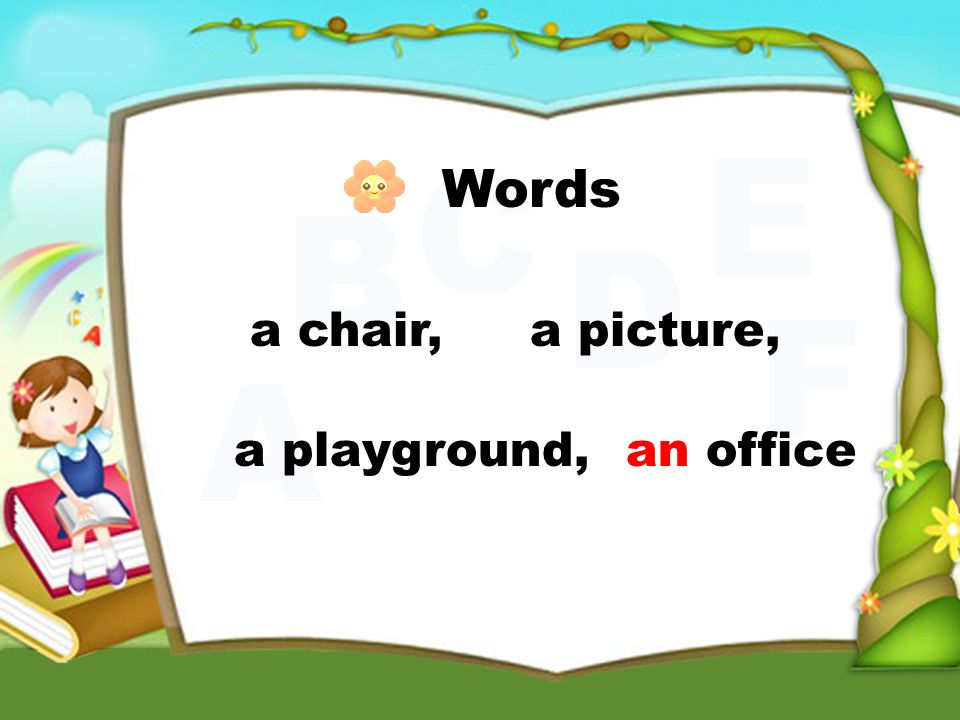 Words a chair,a picture, a playground,an office