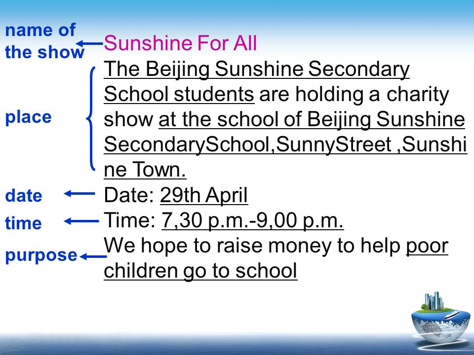 Sunshine For All The Beijing Sunshine Secondary School students are holding a charity show at the school of Beijing Sunshine SecondarySchool,SunnyStre