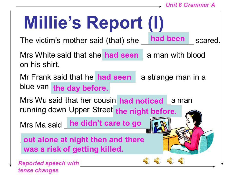 Reported speech with tense changes Unit 6 Grammar A Congratulations!
