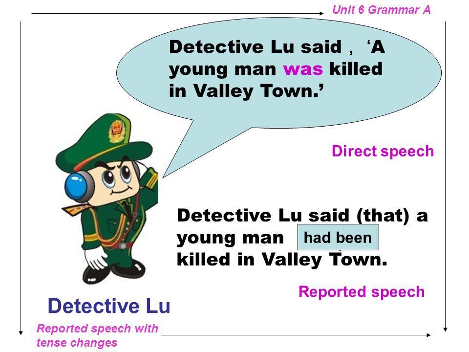 Reported speech with tense changes Unit 6 Grammar A Conan a famous detective