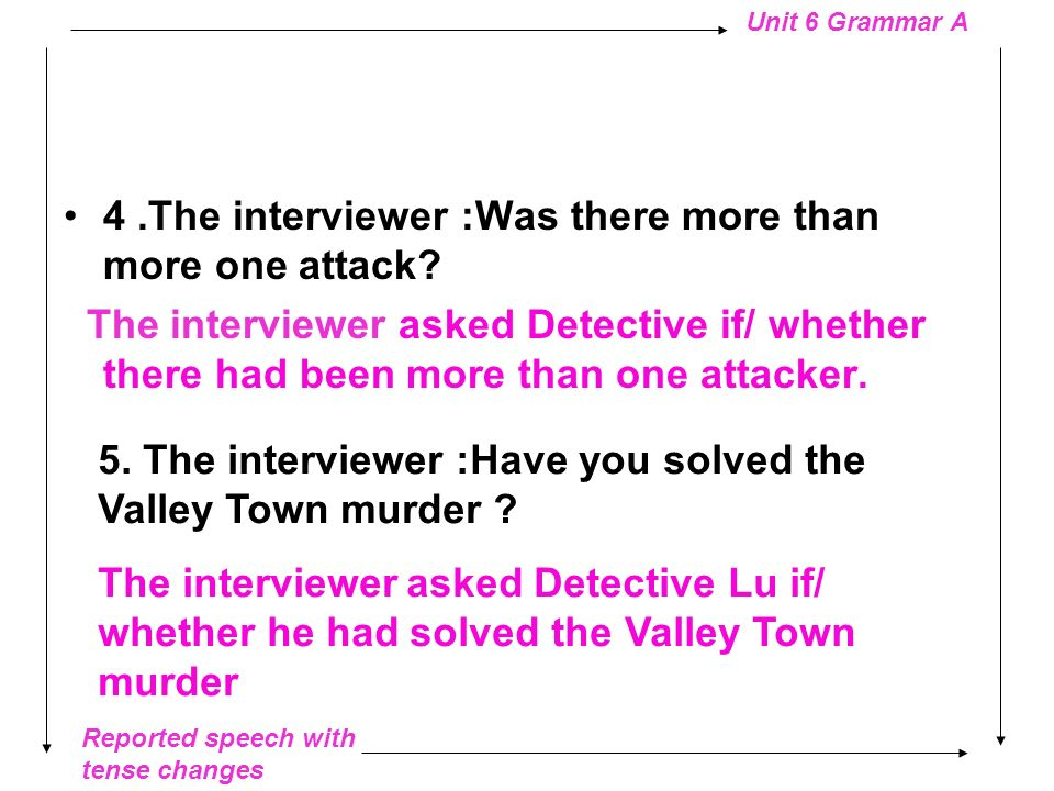 Reported speech with tense changes Unit 6 Grammar A Interviewing Detective Lu 1. The interviewer: How many crimes have you solved? The interviewer ask