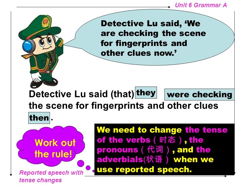 Reported speech with tense changes Unit 6 Grammar A Detective Lu said (that) we will work hard to find the murderer. Detective Lu said We will work ha