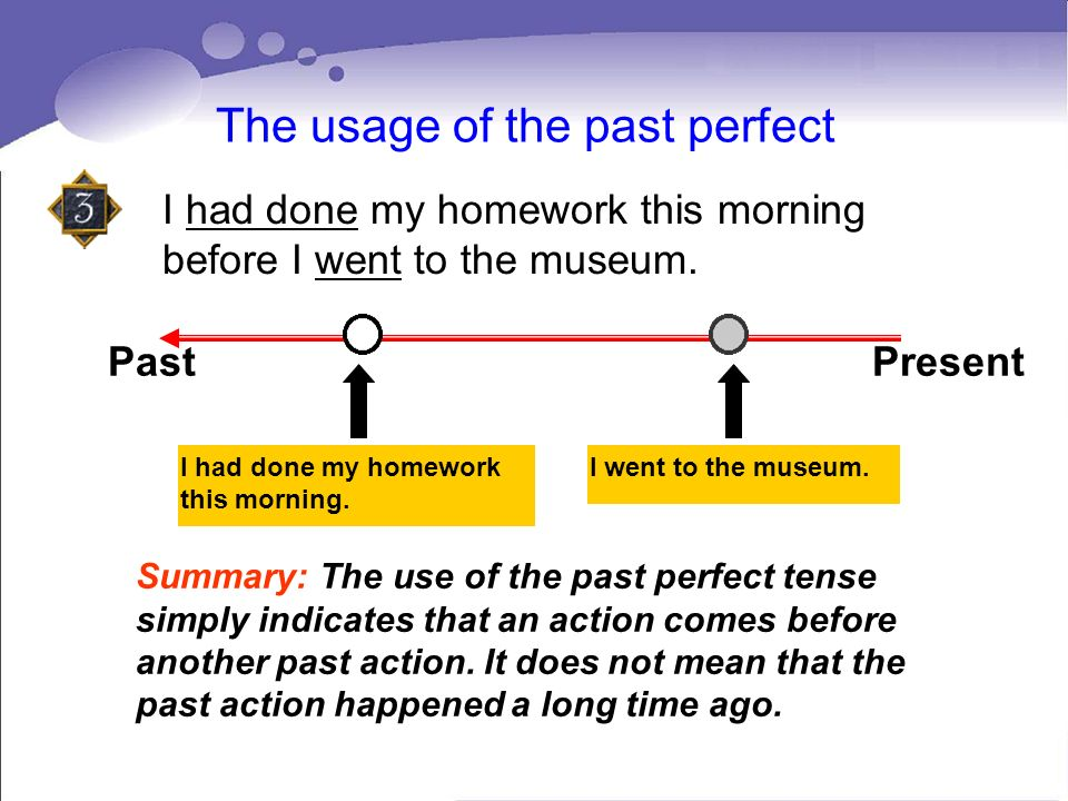 The usage of the past perfect I had done my homework this morning before I went to the museum. Past Present I had done my homework this morning. I wen