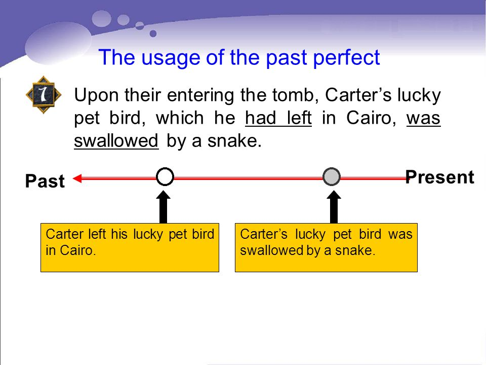 The usage of the past perfect Upon their entering the tomb, Carters lucky pet bird, which he had left in Cairo, was swallowed by a snake. Carter left