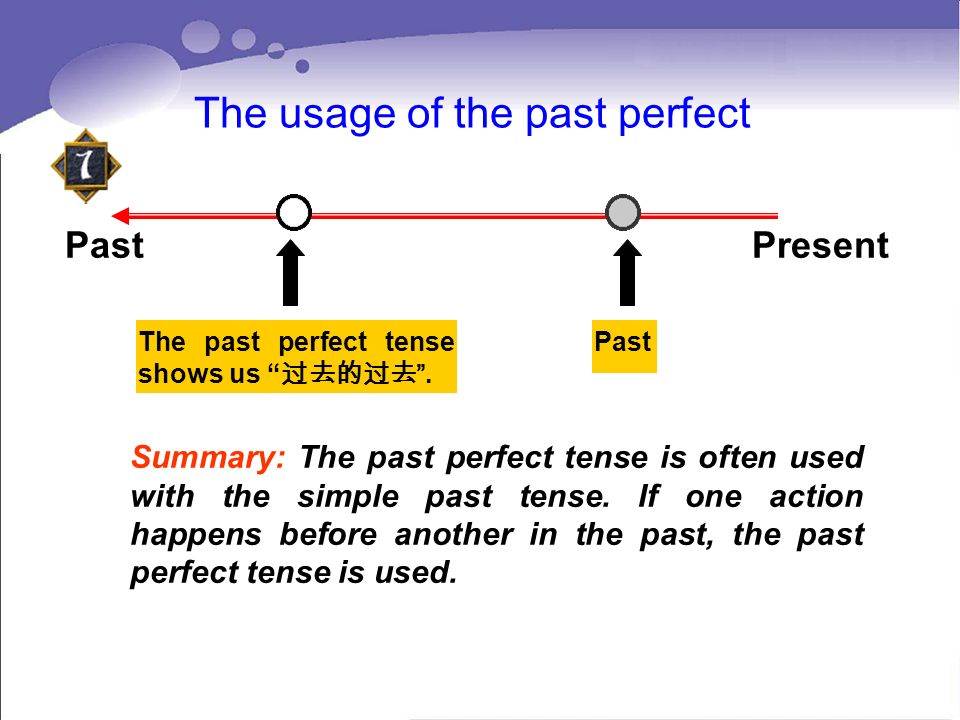 The usage of the past perfect Past Present The past perfect tense shows us. Past Summary: The past perfect tense is often used with the simple past te