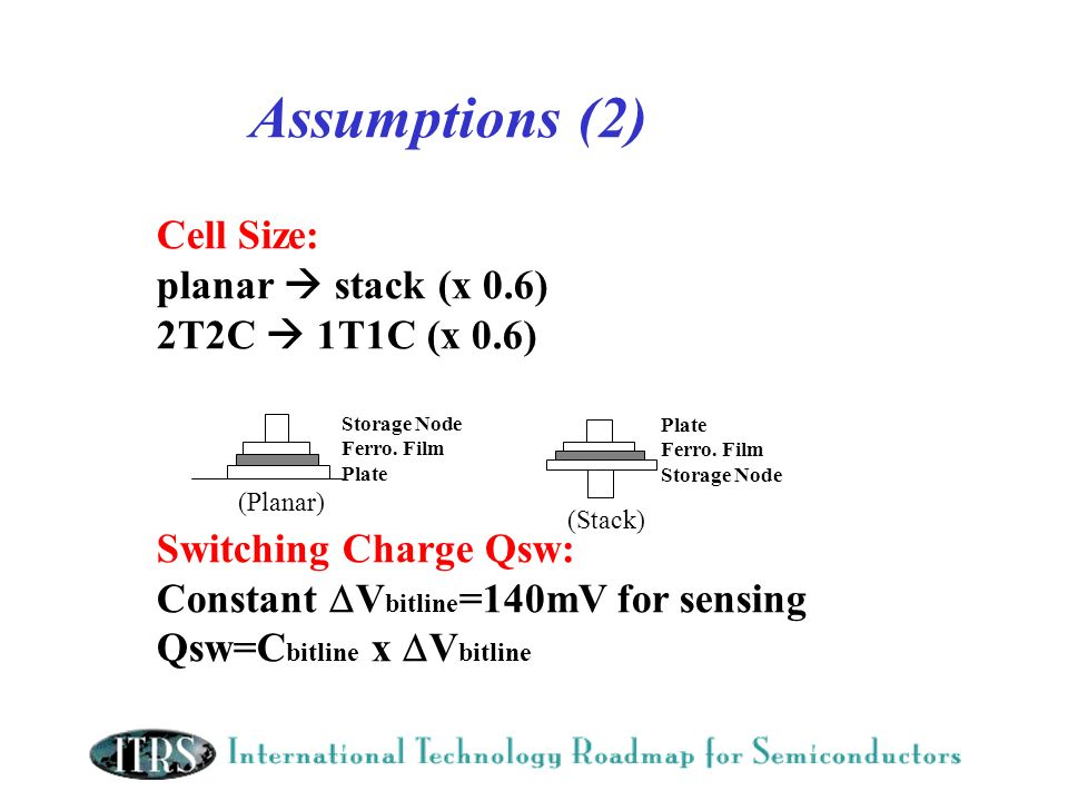 Assumptions (2) Cell Size: planar stack (x 0.6) 2T2C 1T1C (x 0.6) Switching Charge Qsw: Constant V bitline =140mV for sensing Qsw=C bitline x V bitlin