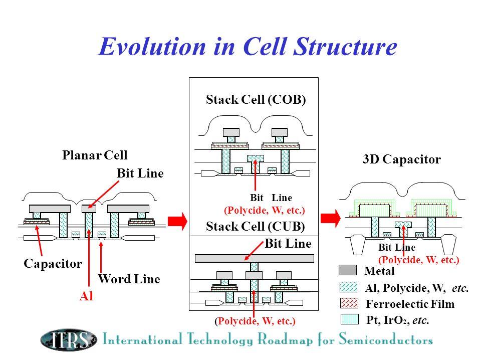 Evolution in Cell Structure Planar Cell 3D Capacitor Bit Line Word Line Capacitor Al, Polycide, W, etc. Ferroelectic Film Pt, IrO 2, etc. Metal Bit Li