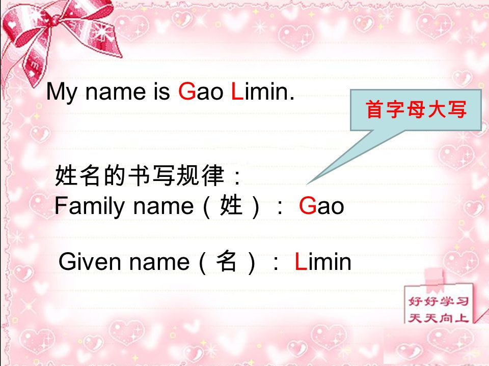 My name is Gao Limin. Family name Gao Given name Limin