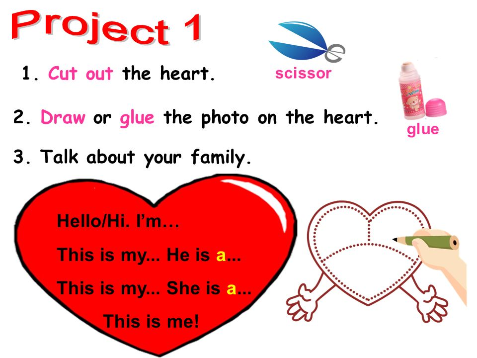 2. Draw or glue the photo on the heart. 3. Talk about your family.