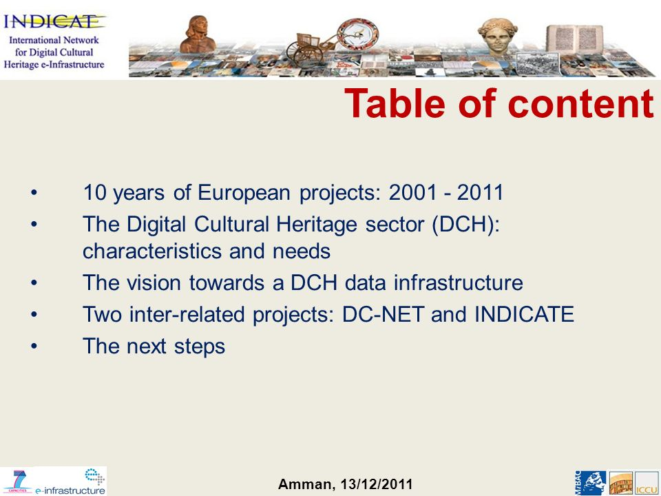 Amman, 13/12/2011 Table of content 10 years of European projects: 2001 - 2011 The Digital Cultural Heritage sector (DCH): characteristics and needs Th