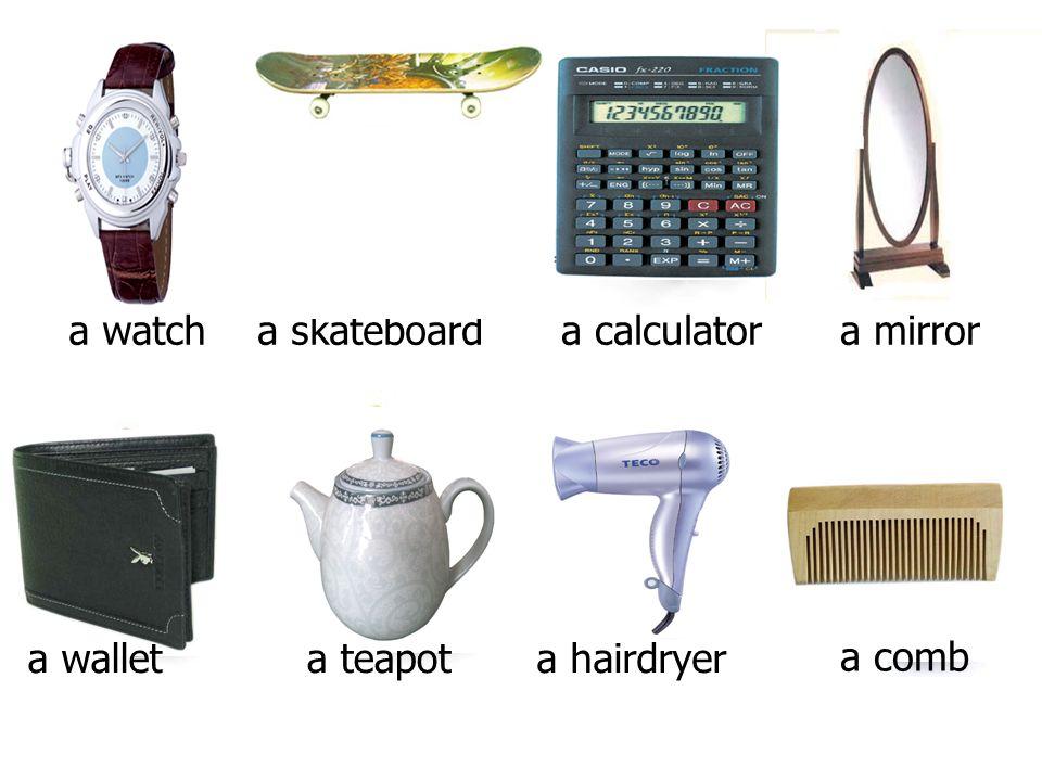 a watch a comb a calculator a mirror a wallet a teapot a hairdryer a skateboard