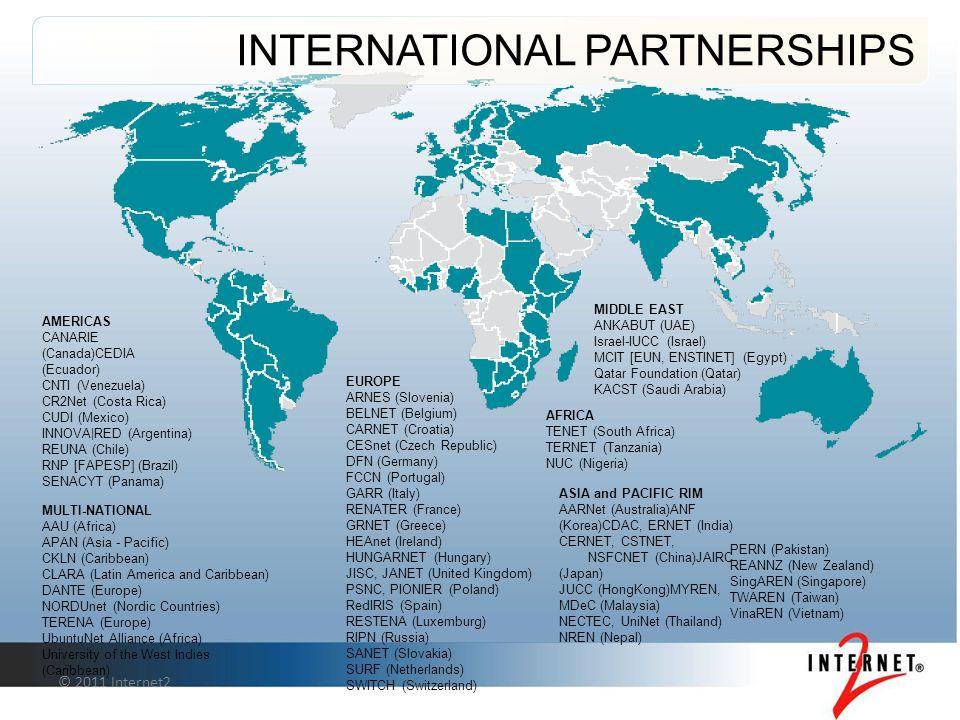© 2011 Internet2 INTERNATIONAL PARTNERSHIPS AMERICAS CANARIE (Canada)CEDIA (Ecuador) CNTI (Venezuela) CR2Net (Costa Rica) CUDI (Mexico) INNOVA|RED (Argentina) REUNA (Chile) RNP [FAPESP] (Brazil) SENACYT (Panama) ASIA and PACIFIC RIM AARNet (Australia)ANF (Korea)CDAC, ERNET (India) CERNET, CSTNET, NSFCNET (China)JAIRC (Japan) JUCC (HongKong)MYREN, MDeC (Malaysia) NECTEC, UniNet (Thailand) NREN (Nepal) MIDDLE EAST ANKABUT (UAE) Israel-IUCC (Israel) MCIT [EUN, ENSTINET] (Egypt) Qatar Foundation (Qatar) KACST (Saudi Arabia) AFRICA TENET (South Africa) TERNET (Tanzania) NUC (Nigeria) EUROPE ARNES (Slovenia) BELNET (Belgium) CARNET (Croatia) CESnet (Czech Republic) DFN (Germany) FCCN (Portugal) GARR (Italy) RENATER (France) GRNET (Greece) HEAnet (Ireland) HUNGARNET (Hungary) JISC, JANET (United Kingdom) PSNC, PIONIER (Poland) RedIRIS (Spain) RESTENA (Luxemburg) RIPN (Russia) SANET (Slovakia) SURF (Netherlands) SWITCH (Switzerland) MULTI-NATIONAL AAU (Africa) APAN (Asia - Pacific) CKLN (Caribbean) CLARA (Latin America and Caribbean) DANTE (Europe) NORDUnet (Nordic Countries) TERENA (Europe) UbuntuNet Alliance (Africa) University of the West Indies (Caribbean) PERN (Pakistan) REANNZ (New Zealand) SingAREN (Singapore) TWAREN (Taiwan) VinaREN (Vietnam)