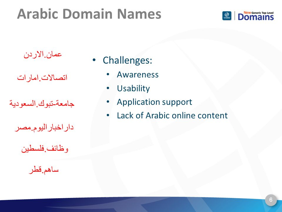 Arabic Domain Names 6 Challenges: Awareness Usability Application support Lack of Arabic online content ساهم.