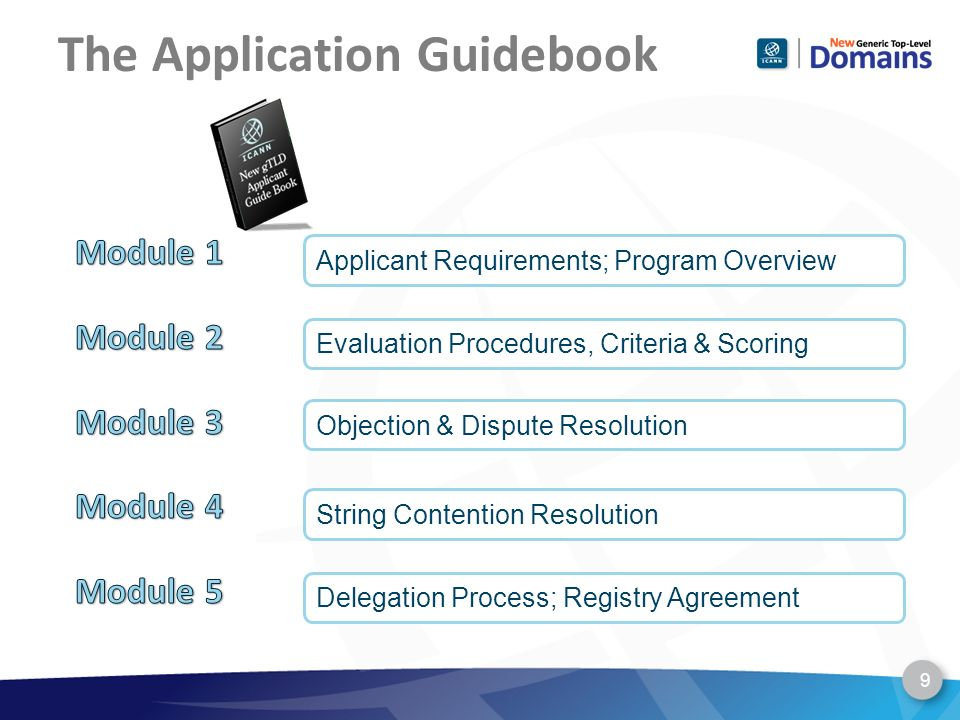 The Application Guidebook Applicant Requirements; Program Overview Evaluation Procedures, Criteria & Scoring Objection & Dispute Resolution String Contention Resolution Delegation Process; Registry Agreement 9