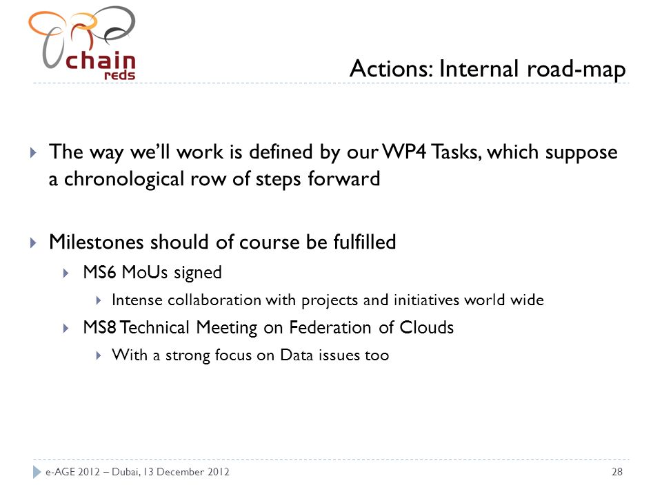 e-AGE 2012 – Dubai, 13 December 201228 The way well work is defined by our WP4 Tasks, which suppose a chronological row of steps forward Milestones sh
