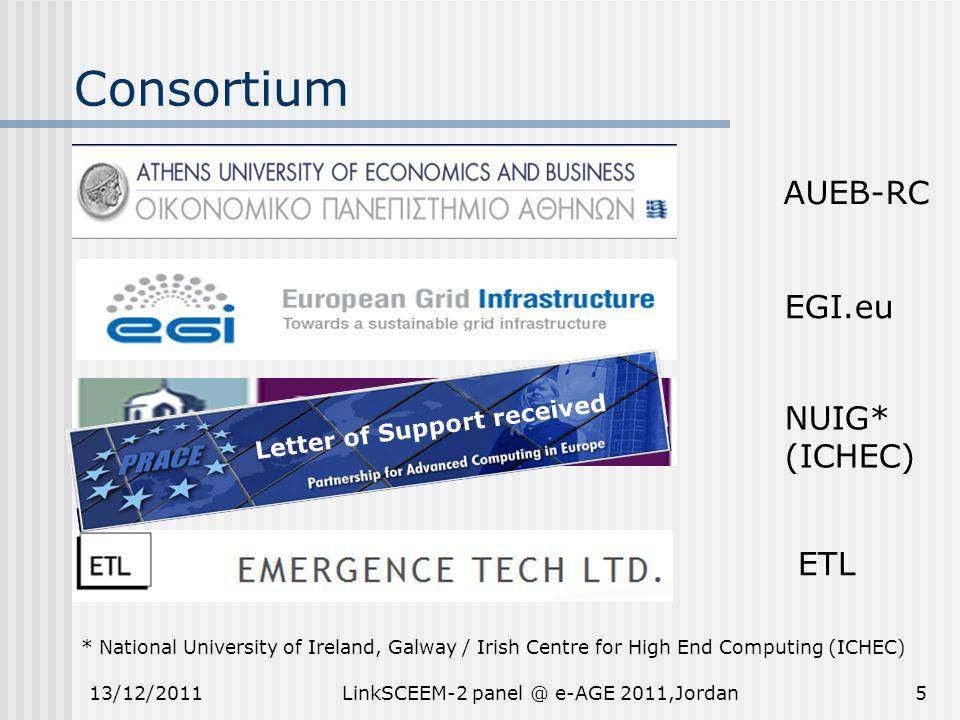 Consortium 5 AUEB-RC EGI.eu NUIG* (ICHEC) * National University of Ireland, Galway / Irish Centre for High End Computing (ICHEC) ETL 13/12/2011LinkSCE