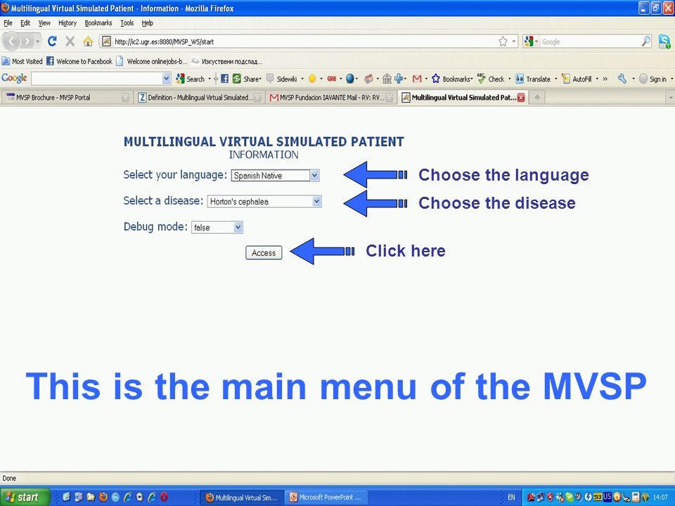 Choose the language Choose the disease Click here This is the main menu of the MVSP