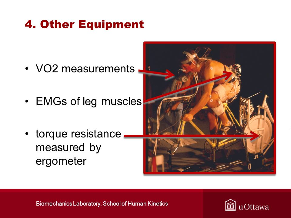 4. Other Equipment VO2 measurements EMGs of leg muscles torque resistance measured by ergometer Biomechanics Laboratory, School of Human Kinetics
