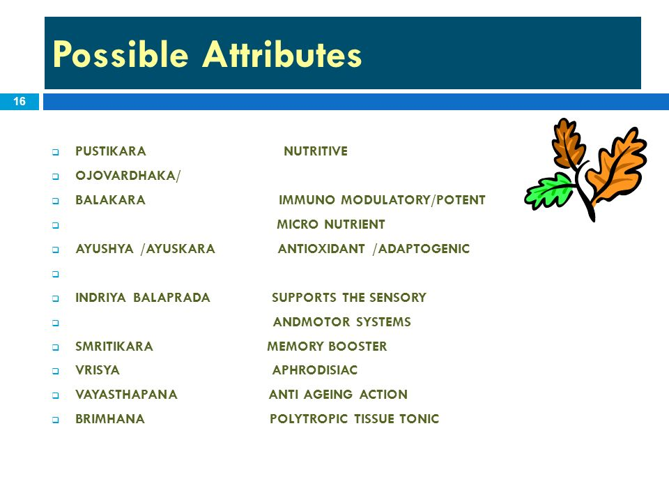 Possible Attributes 16 PUSTIKARA NUTRITIVE OJOVARDHAKA/ BALAKARA IMMUNO MODULATORY/POTENT MICRO NUTRIENT AYUSHYA /AYUSKARA ANTIOXIDANT /ADAPTOGENIC IN