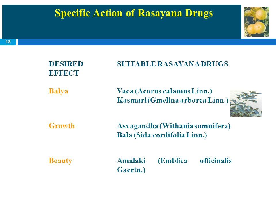 18 Specific Action of Rasayana Drugs DESIRED EFFECT SUITABLE RASAYANA DRUGS BalyaVaca (Acorus calamus Linn.) Kasmari (Gmelina arborea Linn.) GrowthAsv