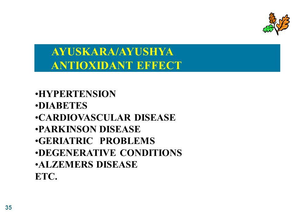 35 AYUSKARA/AYUSHYA ANTIOXIDANT EFFECT HYPERTENSION DIABETES CARDIOVASCULAR DISEASE PARKINSON DISEASE GERIATRIC PROBLEMS DEGENERATIVE CONDITIONS ALZEM