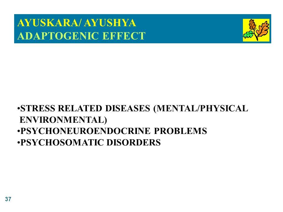 37 AYUSKARA/ AYUSHYA ADAPTOGENIC EFFECT STRESS RELATED DISEASES (MENTAL/PHYSICAL ENVIRONMENTAL) PSYCHONEUROENDOCRINE PROBLEMS PSYCHOSOMATIC DISORDERS