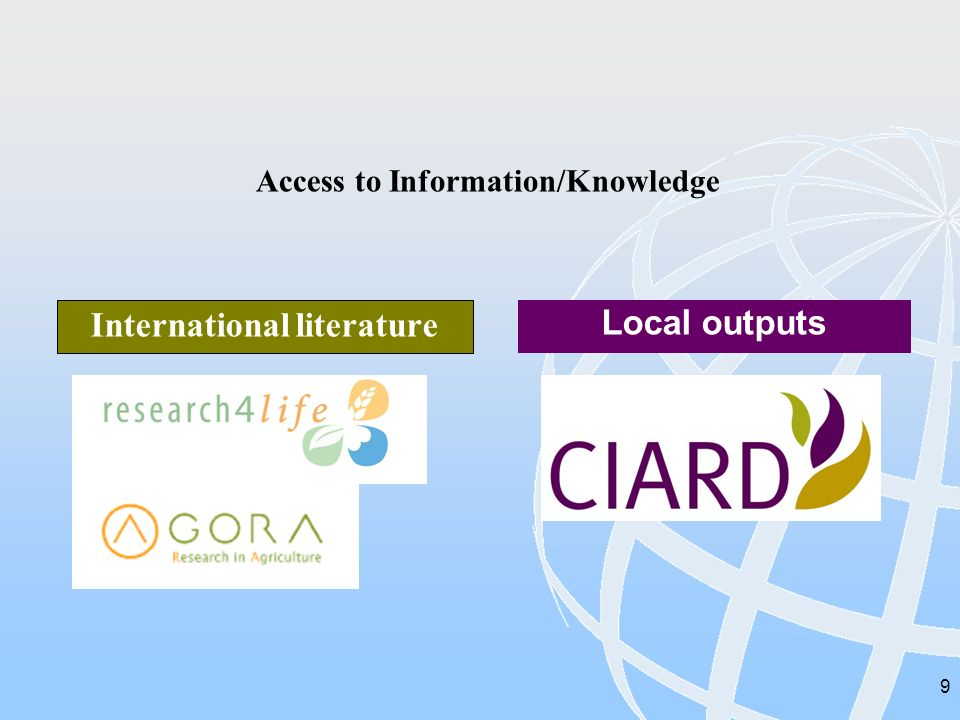 9 Access to Information/Knowledge International literature Local outputs