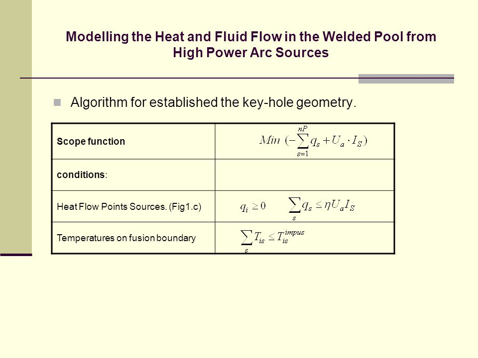 Modelling the Heat and Fluid Flow in the Welded Pool from High Power Arc Sources Algorithm for established the key-hole geometry. Scope function condi