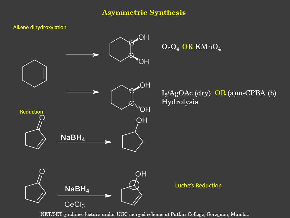 Asymmetric Synthesis OsO 4 OR KMnO 4 I 2 /AgOAc (dry) OR (a)m-CPBA (b) Hydrolysis Alkene dihydroxylation Reduction NET/SET guidance lecture under UGC