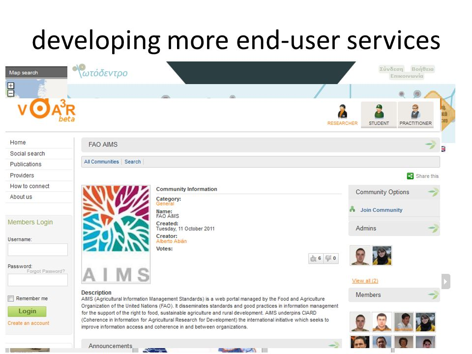 developing more end-user services 24 Web portals to support user communities (e.g.
