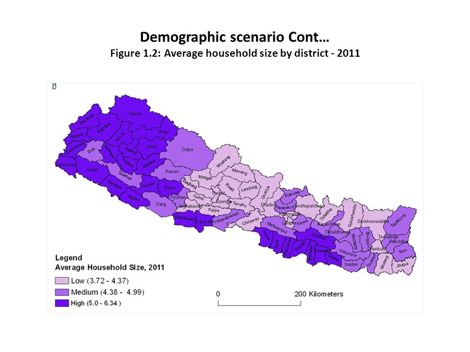 Demographic scenario Cont… Figure 1.2: Average household size by district - 2011