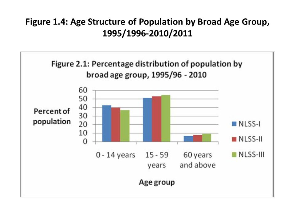 Figure 1.4: Age Structure of Population by Broad Age Group, 1995/1996-2010/2011