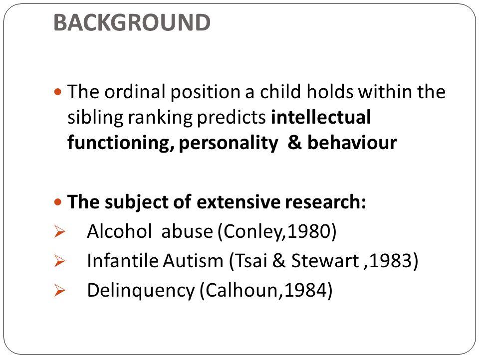 RESULTS: Table 5: Effect of Birth Order on Psychopathology GroupsMean squaredfFSignificance I(N=527)20.15111.564O.212 II(N=47)8.16710.4520.505 III(N=110)17.54711.5090.222