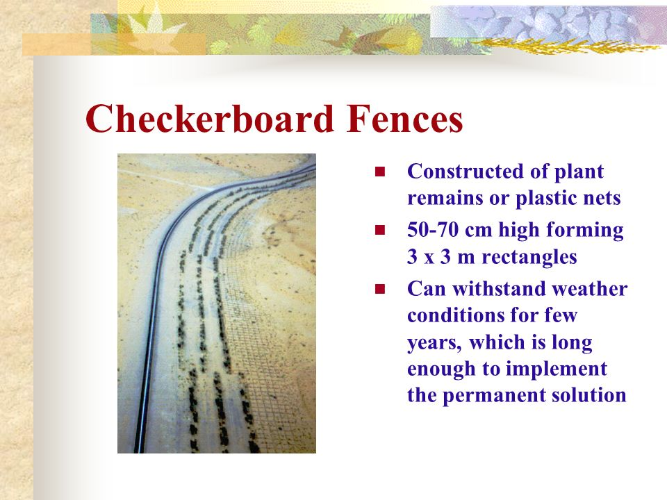 Checkerboard Fences Constructed of plant remains or plastic nets 50-70 cm high forming 3 x 3 m rectangles Can withstand weather conditions for few yea