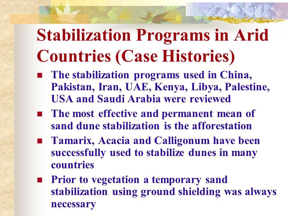 Stabilization Programs in Arid Countries (Case Histories) The stabilization programs used in China, Pakistan, Iran, UAE, Kenya, Libya, Palestine, USA