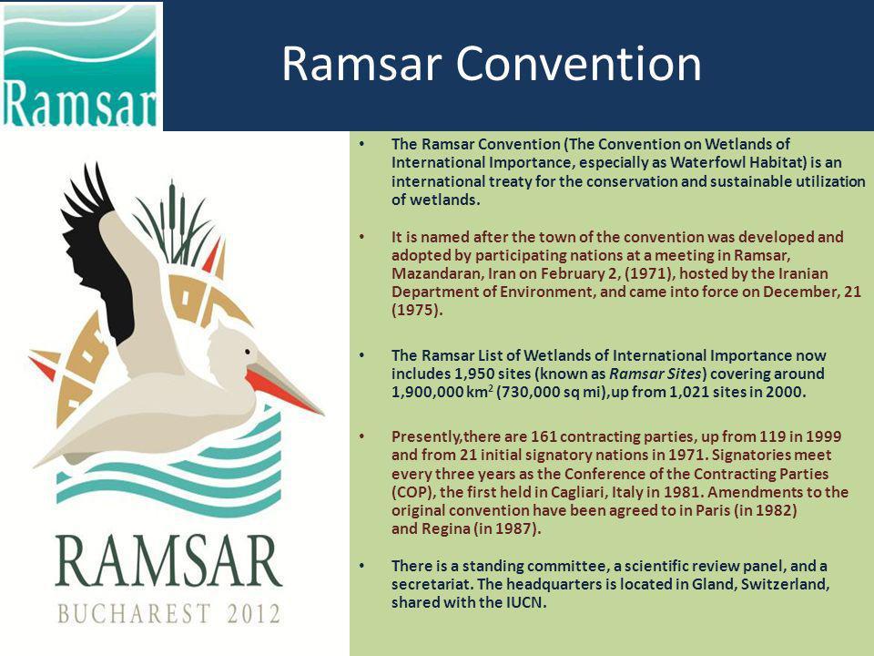 Ramsar Convention The Ramsar Convention (The Convention on Wetlands of International Importance, especially as Waterfowl Habitat) is an international