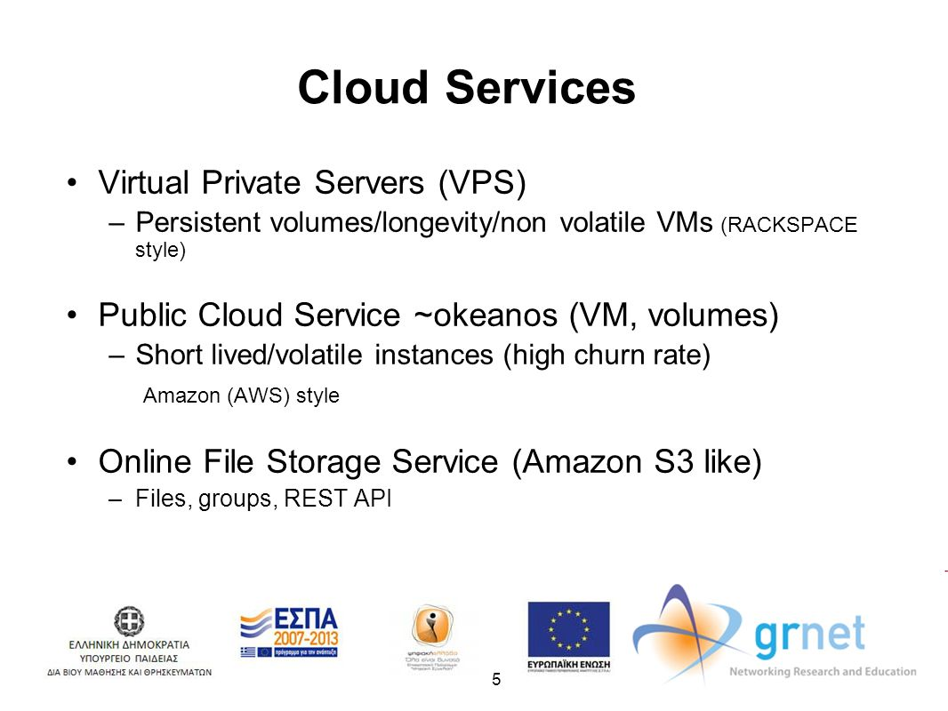5 Cloud Services Virtual Private Servers (VPS) –Persistent volumes/longevity/non volatile VMs (RACKSPACE style) Public Cloud Service ~okeanos (VM, volumes) –Short lived/volatile instances (high churn rate) Amazon (AWS) style Online File Storage Service (Amazon S3 like) –Files, groups, REST API