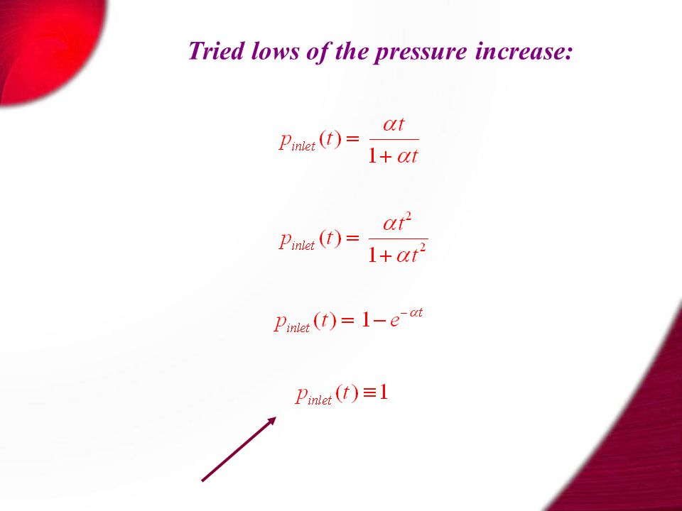 Tried lows of the pressure increase: