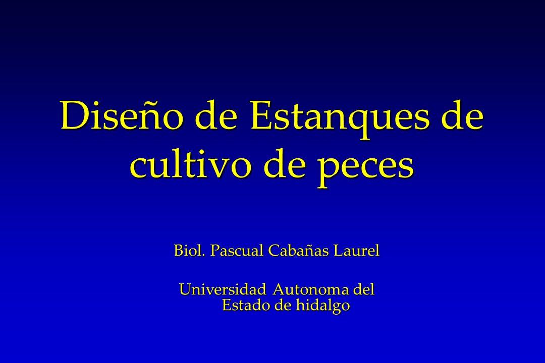 Diseño de Estanques de cultivo de peces Biol. Pascual Cabañas Laurel Universidad Autonoma del Estado de hidalgo